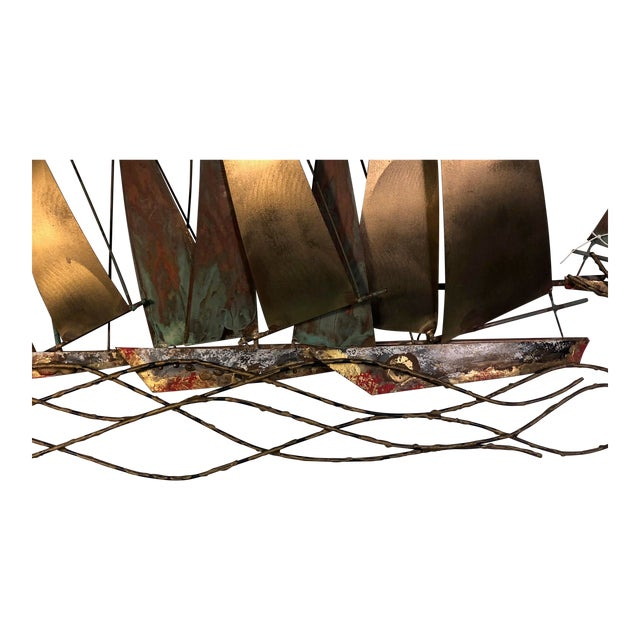 "Large scale boat wall sculpture by Curtis Jere. Signed C. Jere, 1971. Measures 59"" long by 29"" high, 5"" depth. In fair..."