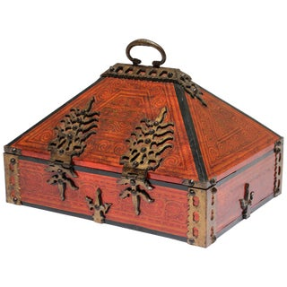 Large Decorative Indian Jewelry Box With Brass, Kerala Nettur Petti For Sale