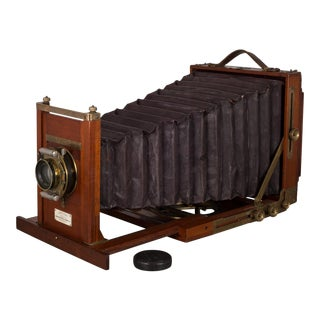 Antique Mahogany and Large Brass Folding Camera, C. 1890s For Sale