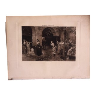 "Antique Photogravure on Paper, ""Mme. Roland in the Prison of Ste. Pelagie"" by Evariste Carpenter Selmar Hess Pub 1894 For Sale"