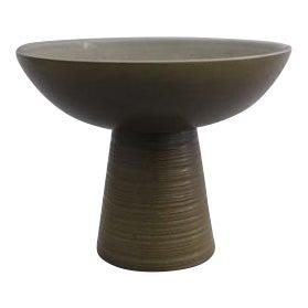 Vintage Olive Green Ceramic Pedestal Bowl