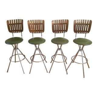 Mid-Century Modern Umanoff Style Slat Back Swivel Bar Stools- Set of 4 For Sale