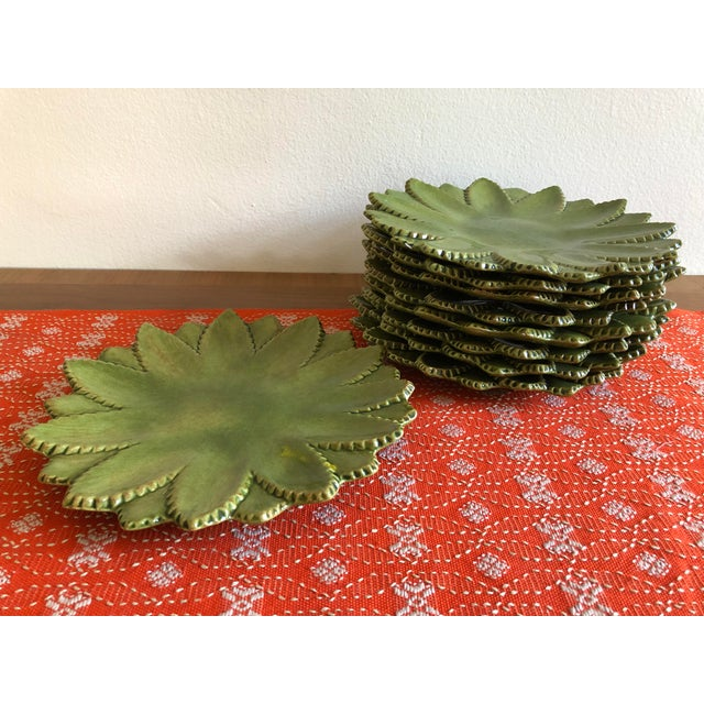 Green Hand Made Studio Pottery Leaf Ceramic Plates With Serrated Edge - Set of 9 For Sale - Image 8 of 8