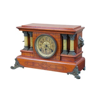 Antique Seth Thomas Cherry Adamantine Pillar Imperial Mantel Clock For Sale