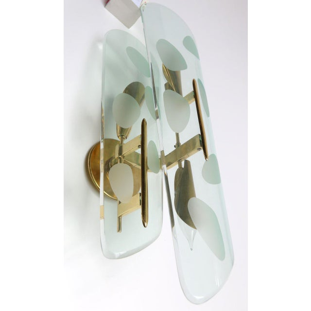 Gold and Glass Italian Sconces - a Pair For Sale - Image 4 of 7