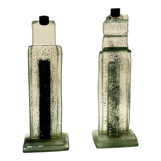 Art Deco Style Glass Skyscraper Candlesticks - a Pair For Sale