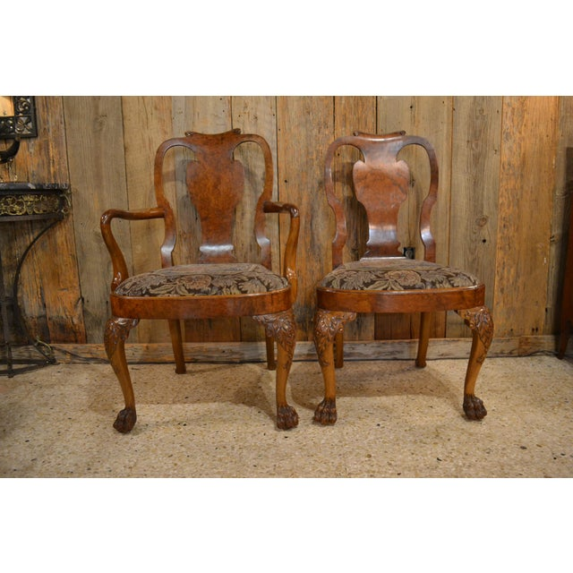 Burlwood Set of 10 Antique English Queen Anne Burl Walnut Dining Chairs circa 1880 For Sale - Image 7 of 7