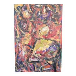 Large Willem De Kooning Style Abstract Oil on Canvas For Sale