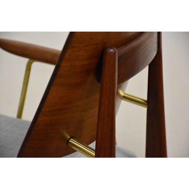 Walnut & Brass Occasional Chair - Image 8 of 11