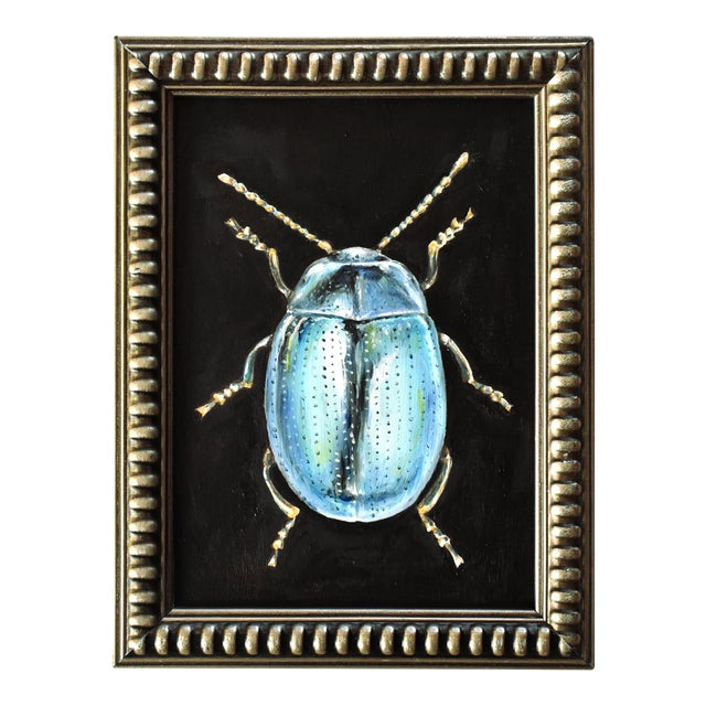 Contemporary Oil Painting of a Beetle by Susannah Carson For Sale
