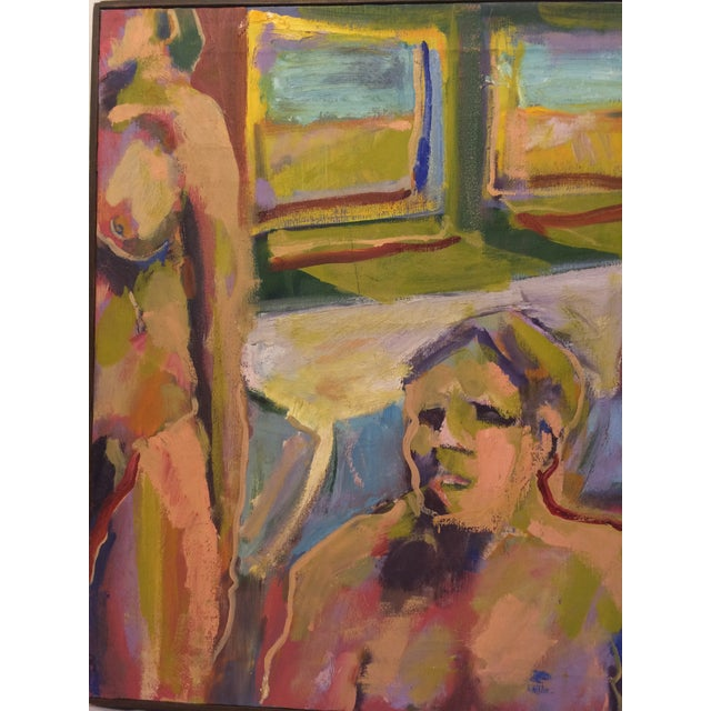 """""""One and Two,"""" Oil Painting Circa 1966 - Image 4 of 7"""