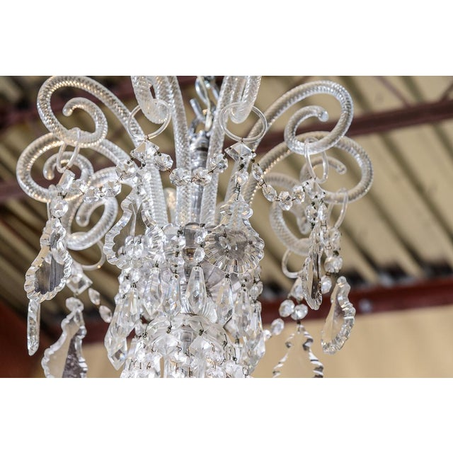 Glass Pair of Cut Crystal Chandeliers For Sale - Image 7 of 9