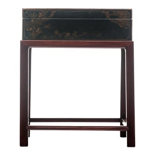Lawrence & Scott Hand-Painted Black Water Buffalo Leather Box on Handcrafted Wood Stand For Sale