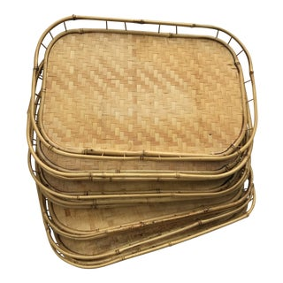 1970s Boho Chic Woven Bamboo Serving Trays - Set of 10
