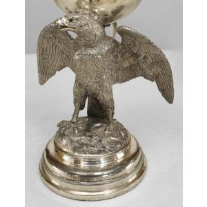 19th Century American Victorian style silver plate eagle base oil lamps- A Pair For Sale - Image 4 of 5
