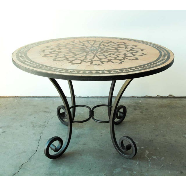 Moroccan Mosaic Outdoor Tile Table in Fez Moorish Design For Sale - Image 4 of 11