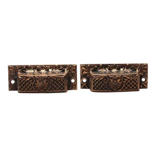 Antique French Bronze Drawer Bin Pulls - a Pair For Sale