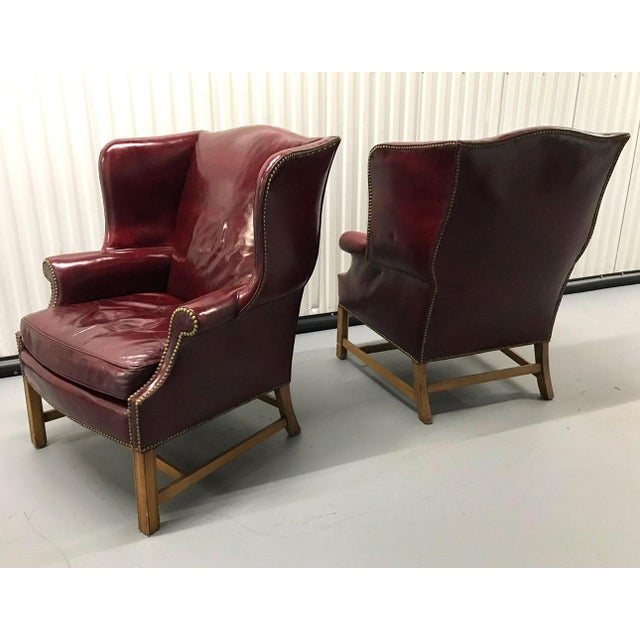 Vintage Leather Wingback Chairs — a Pair For Sale - Image 4 of 13