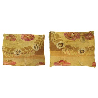 """Antique Art Deco Bessarabian Carpet Pillows With Floral Green Brocade Backing, Size 26"""" X 20""""/ 22"""" X 16"""" - a Pair For Sale"""