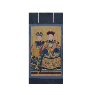 Chinese Large Vintage Canvas Color Ink King Queen Painting Art