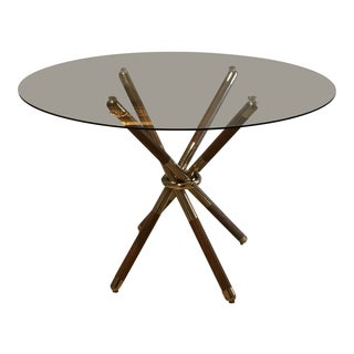 1960s Mid-Century Modern Teak Brass and Glass Dining Table For Sale