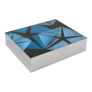 1970s Stainless Steel Blue Enamel Box For Sale