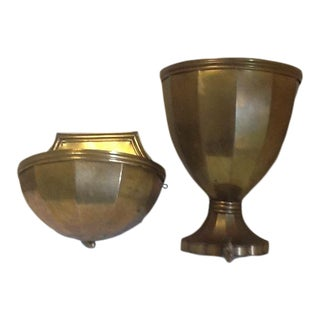Vintage Italian Brass Wall Fountain/Lavabo - 2 Pieces For Sale