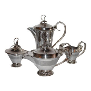 Three Crowns Silver Plate Coffee Set For Sale