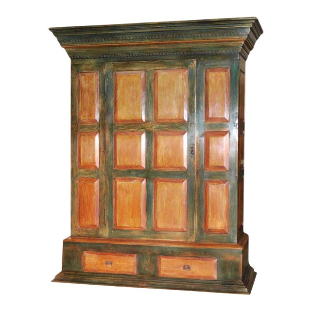Large Green and Red Painted Armoire For Sale