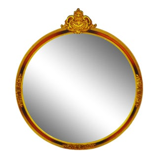 Vintage Framed Round Mirror With Decorative Topper For Sale