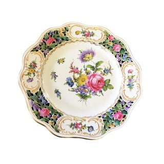 Antique Reticulated Pierced Porcelain Flowers Cabinet Plate Dresden For Sale