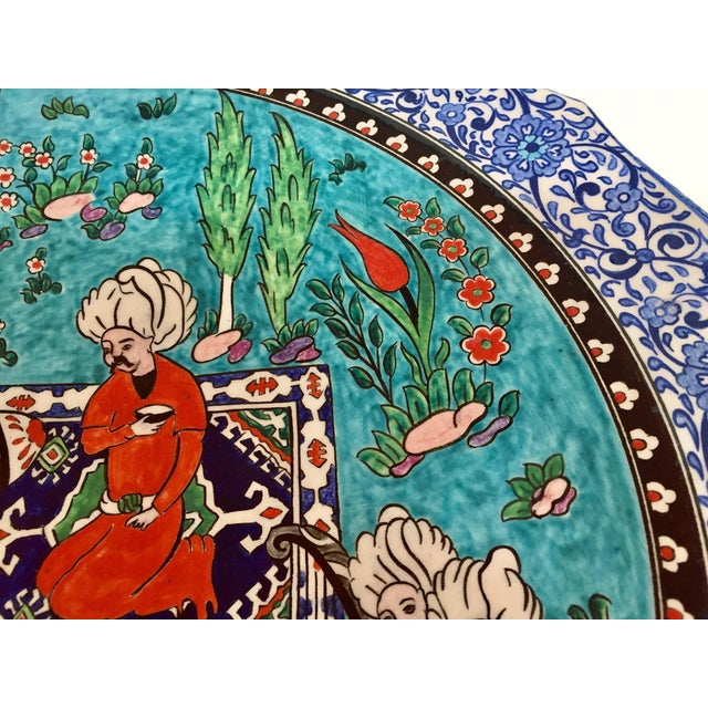 Large Turkish Ottoman Scene Polychrome Hand Painted Ceramic Plate Kutahya For Sale - Image 10 of 12