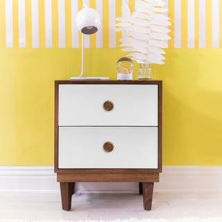 Lukka Modern Kids 2-Drawer Nightstand in Walnut With White Finish Preview