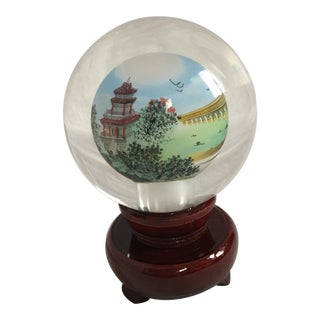 Contemporary Chinese Glass Paperweight & Lacquered Wood Stand For Sale