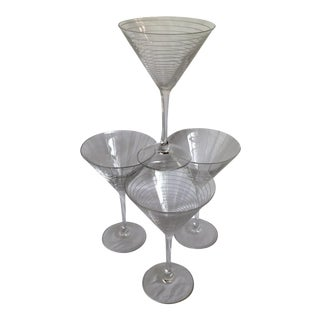 Mikasa Martini Glasses With Vertical and Horizontal Etched Lines-Set of 4 For Sale