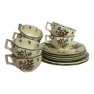 Royal Doulton Leeds Sprays Cups & Saucers - Set of 16 For Sale
