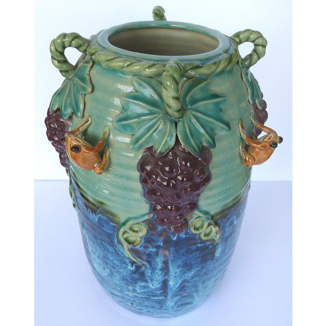 Glazed Majolica Pottery Grapes & Frogs Motif Vase For Sale - Image 4 of 9