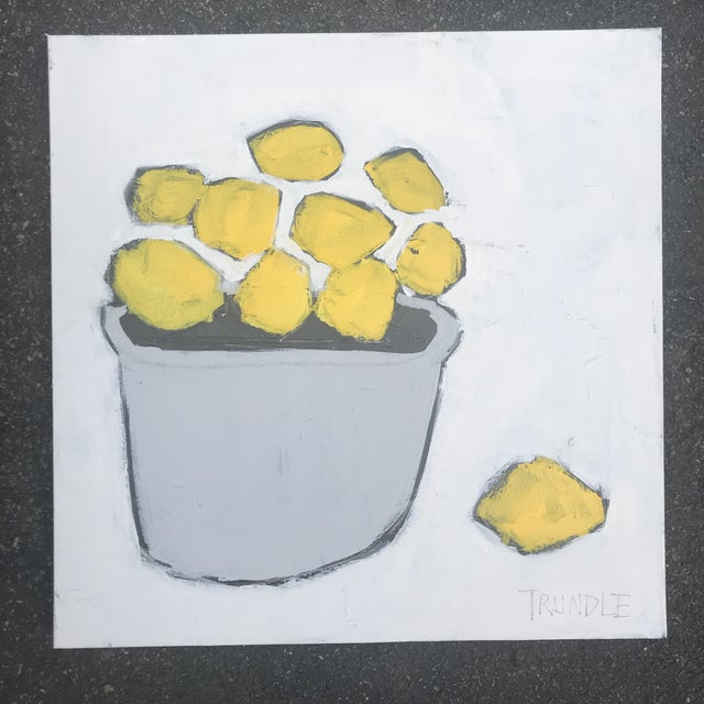 """2010s """"Lemons"""" Contemporary Abstract Painting by Sarah Trundle For Sale - Image 5 of 5"""