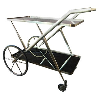 Brass Glass Bar Cart Serving Table Trolley, Italy, 1950s For Sale