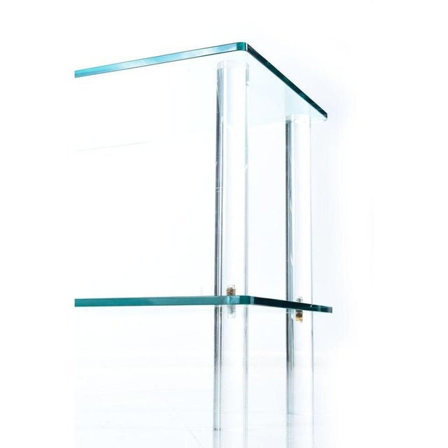 Leon Rosen for Pace Collection Style Lucite Screw Leg and Glass Cocktail Table For Sale - Image 4 of 7
