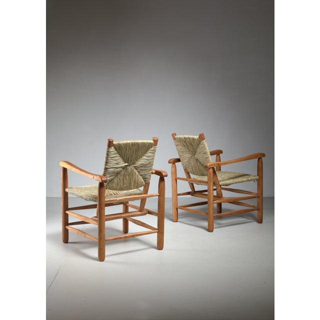 Charlotte Perriand Pair Charlotte Perriand 'model no. 21' lounge chairs France 1950s For Sale - Image 4 of 5