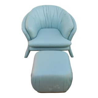 Carson's Sculptural Mid-Century Modern Turquoise Lounge Chair W Ottoman For Sale