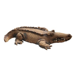 1983 Terra Cotta Alligator Sculpture by Todd Warner For Sale
