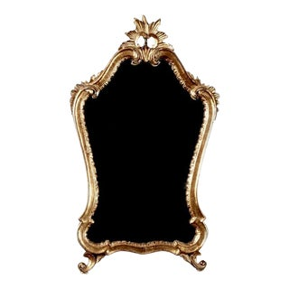 Italian Giltwood Wall Mirror with Crown Top
