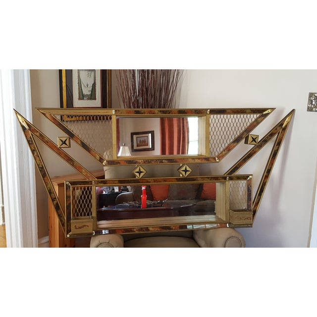 Art Deco 1950s Boomerang Mirror Shadowbox Shelf For Sale - Image 3 of 8