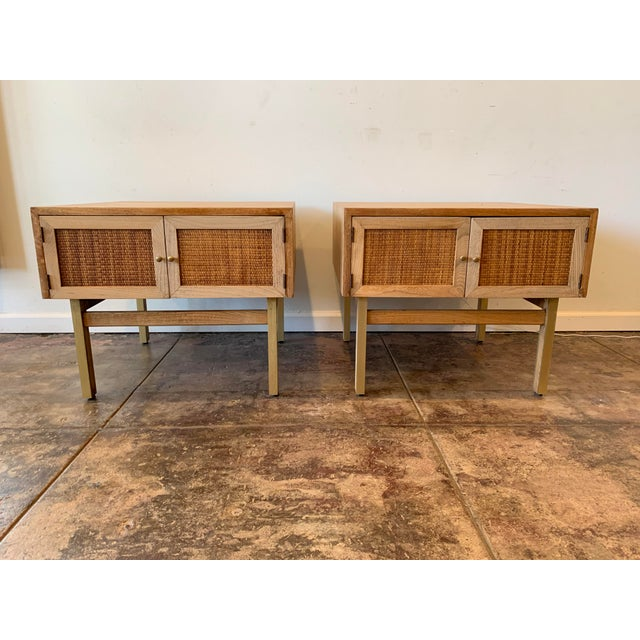 1950s 1950s Mid Century Modern Brass and Caned End Tables -a Pair For Sale - Image 5 of 9