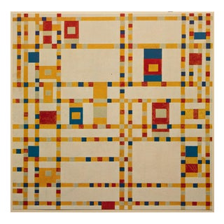 """1958 After Piet Mondrian """"Broadway Boogie-Woogie"""" Vintage Full Color Print From England For Sale"""