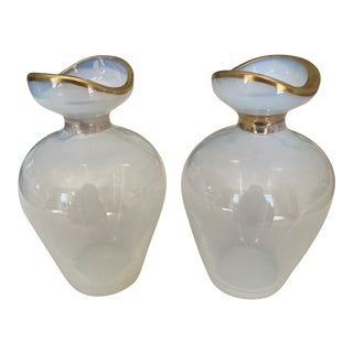 French White Opaline Vases With Gilt - a Pair For Sale
