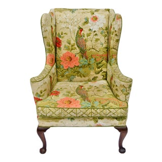 Vintage Mid Century Botanical Print Wingback Chair For Sale
