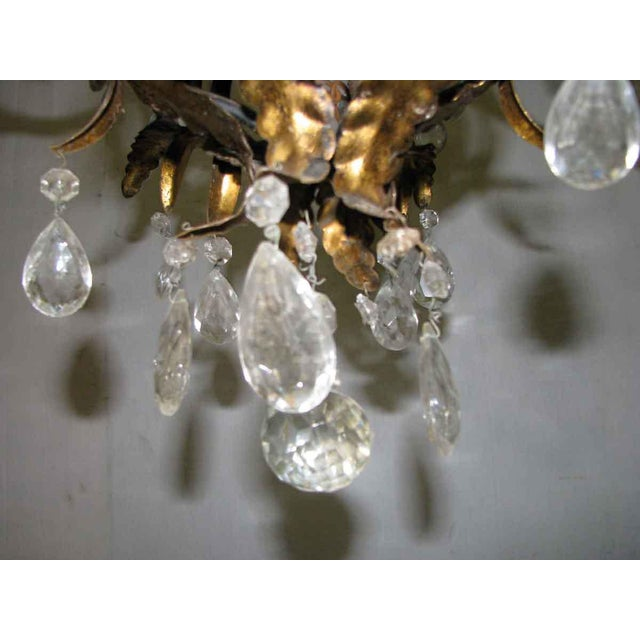 Wrought Iron Brass & Crystal Chandelier For Sale In New York - Image 6 of 8